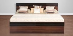 Belda Z King Size Bed with Storage in Acacia Dark Matt Finish