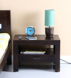 Acropolis Bed Side Table In Warm Chestnut Finish