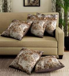Beige/Brown Velvet Leopard Digital Print Set Of 5 Cushion Covers