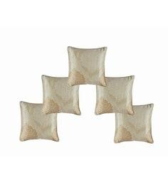 Beige Dupion Silk 12 X 12 Inch Cushion Covers - Set Of 5