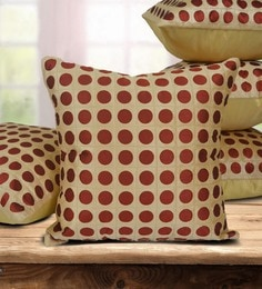 Beige Dupion Silk 16 X 16 Inch Cushion Covers - Set Of 5 - 1631299