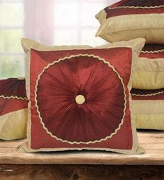 Beige Dupion Silk 16 X 16 Inch Cushion Covers - Set Of 5