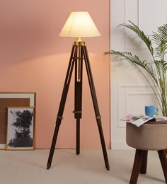 Beige Fabric Floor Tripod Lamp - 1693697