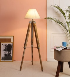 Beige Fabric Floor Tripod Lamp