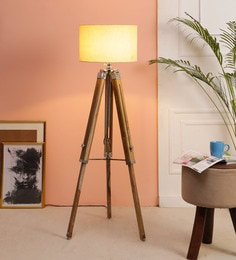 Beige Fabric Floor Tripod Lamp - 1693684