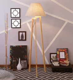 Beige Linen Floor Lamp - 1630922