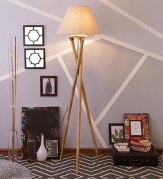 Beige Linen Floor Lamp - 1630982