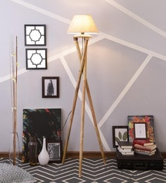 Beige Linen Floor Lamp - 1630987
