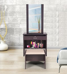 Berlin Dressing Table With Hidden Mirror Storage And Stool