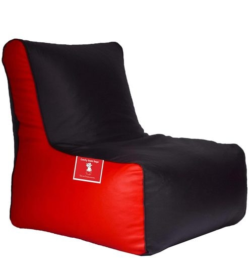 Bean Bag Chair Cover In Black Red Colour By Comfy Bags