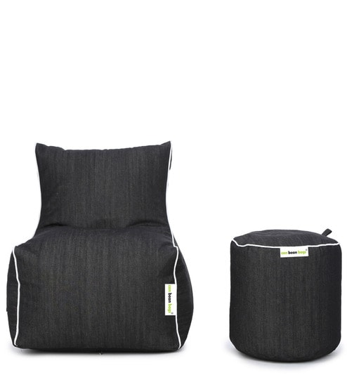 Denim Bean Bag Chair With Beans Pouffe In Black Colour By Can