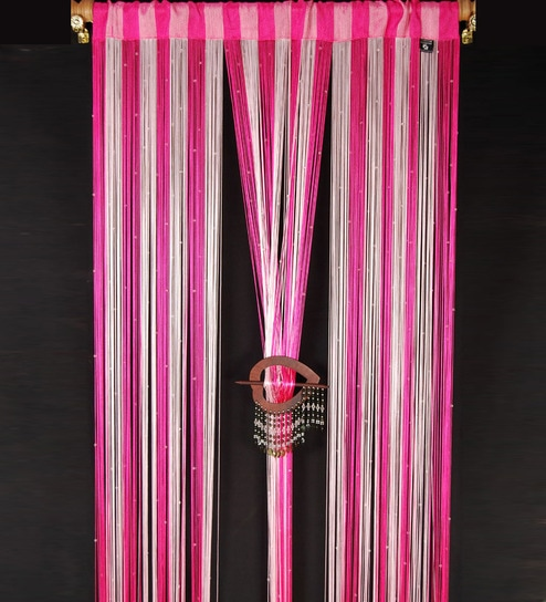 Handloomhub Pink String Door Curtains (Set of 2)- 7 Feet & Handloomhub Pink String Door Curtains (Set of 2)- 7 Feet by ...