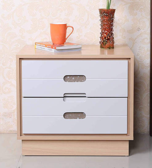 Buy bedside table in light oak white finish by parin for Buy white bedside table