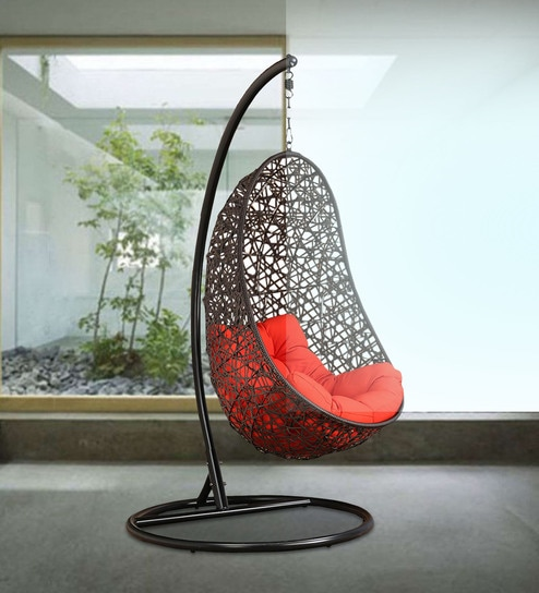 Buy Begonia Swing With Stand Amp Orange Cushion In Brown
