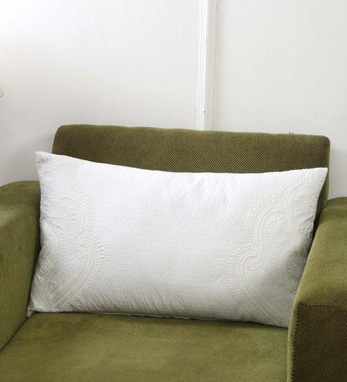 Beige 100 Cotton 14 X 24 Inch Pillow Cover By Maspar