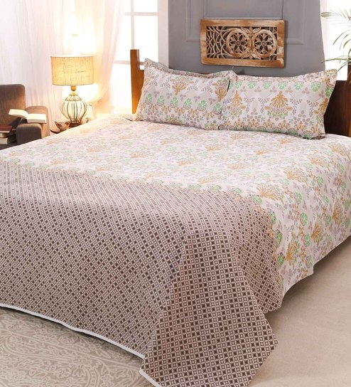Silverstar Ethnic Motif 144TC Cotton King Size Bed Sheet With 2 Pillow  Covers By Raymond Home
