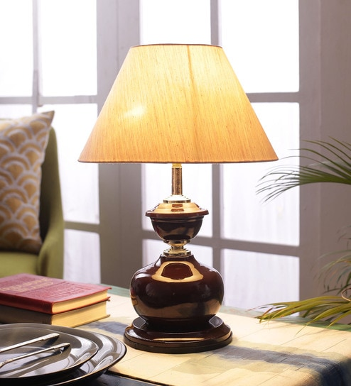 Beige Fabric Shade Table Lamp With Metal Base By Foziq