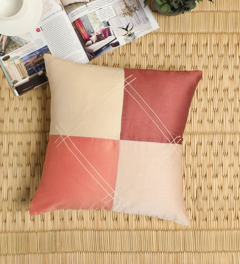 Beige Cotton Vellore Cushion Cover Embroidered(16 X 16 Inch) By Petal Home