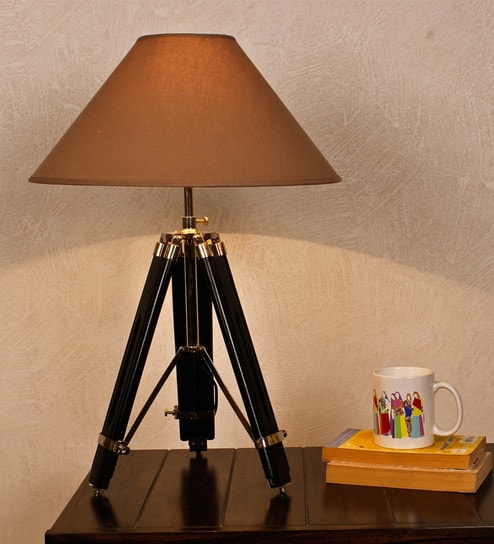 Beige Fabric Table Lamp By Kapoor E Illuminations