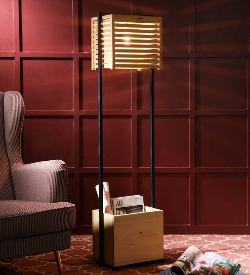 Beige Wooden and Metal Auroville Floor Lamp by Symplify Interio