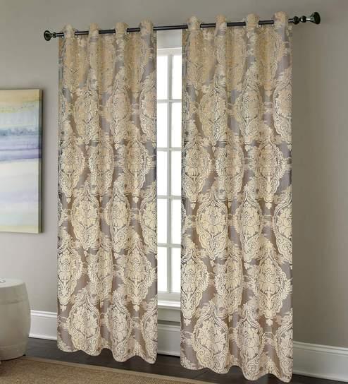 Beige Sheer Polyester 75 Feet Eyelet Door Curtains Set Of 2 By Deco Window