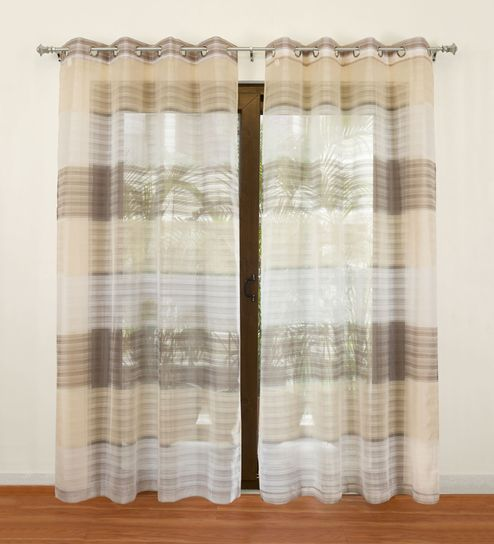 Beige Polyester Sophie Sheer Door Curtain By Rosara