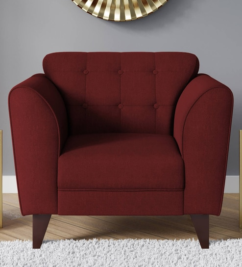 Belem 1 Seater Sofa In Garnet Red Colour By Casacraft