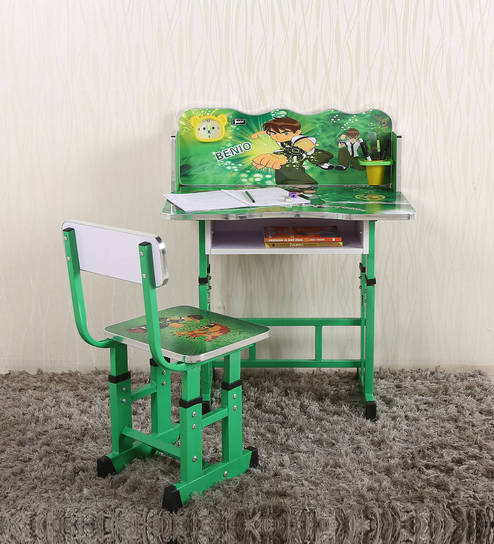 Buy Ben10 Kids Study Table & Chair Set in Green Color by Parin ...