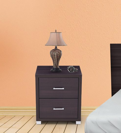 Berlin Bed Side Table In Chocolate Finish By Royal Oak