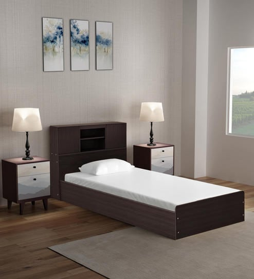 Buy Berlin Single Bed With Headboard Storage In Chocolate Colour By