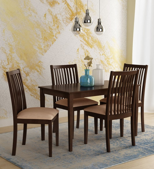 Berry Four Seater Dining Set In Espresso Finish By Nilkamal