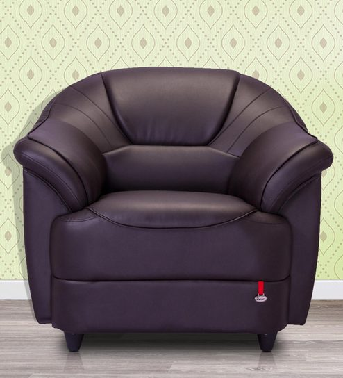 Berry One Seater Sofa In Coffee Brown Colour By Durian