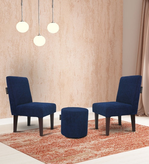 Superb Betty Slipper Chair Set Of 2 With Matching Ottoman In Blue Colour By Primrose Gmtry Best Dining Table And Chair Ideas Images Gmtryco