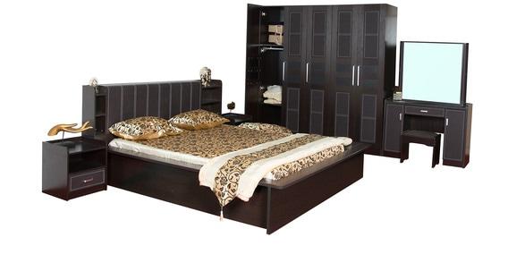 Bedroom Set(Queen Bed+Wardrobe+Side Tables+Dresser+Stool) By