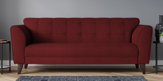 Belem Three Seater Sofa In Garnet Red Color By Casacraft