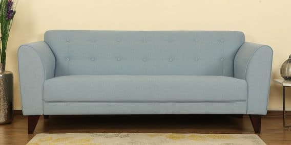 Belem Three Seater Sofa in Ice Blue Color by CasaCraft