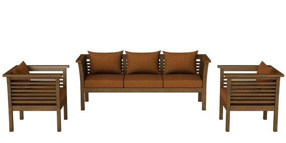 1bf0734074 Buy Belmond Teak Wood Sofa Set (3+1+1) in Walnut Finish by CasaTeak ...