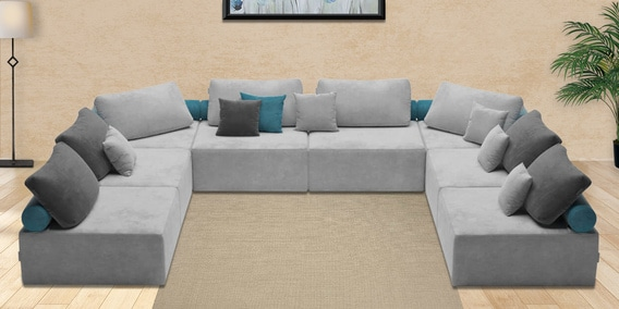 Buy Berlin Modular Fabric Sectional Sofa Seats In Grey Colour By