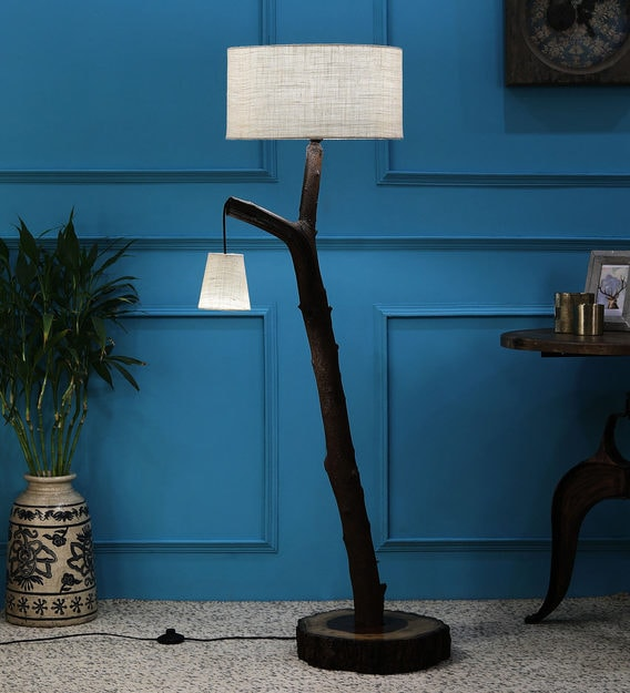 Buy Beige Fabric Shade Floor Lamp With Brown Base By The Knotty Rope Online Eclectic Floor Lamps Floor Lamps Lamps Lighting Pepperfry Product