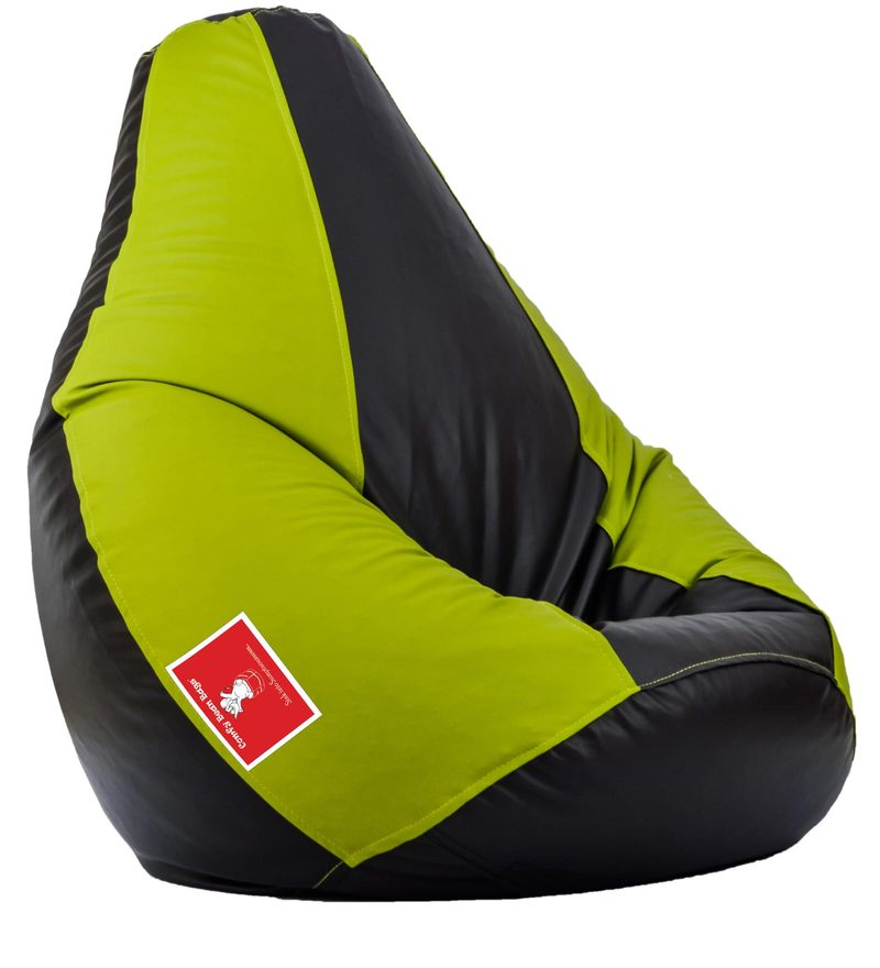 Bean Bag with Beans in Black & Pea Green Colour by Comfy Bean Bags