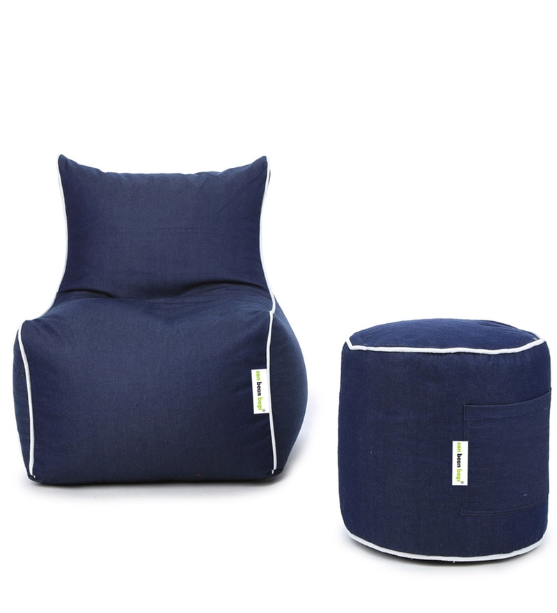 Denim Bean Bag (Without Beans) Chair Cover & Pouffe Cover in Blue Colour by Can