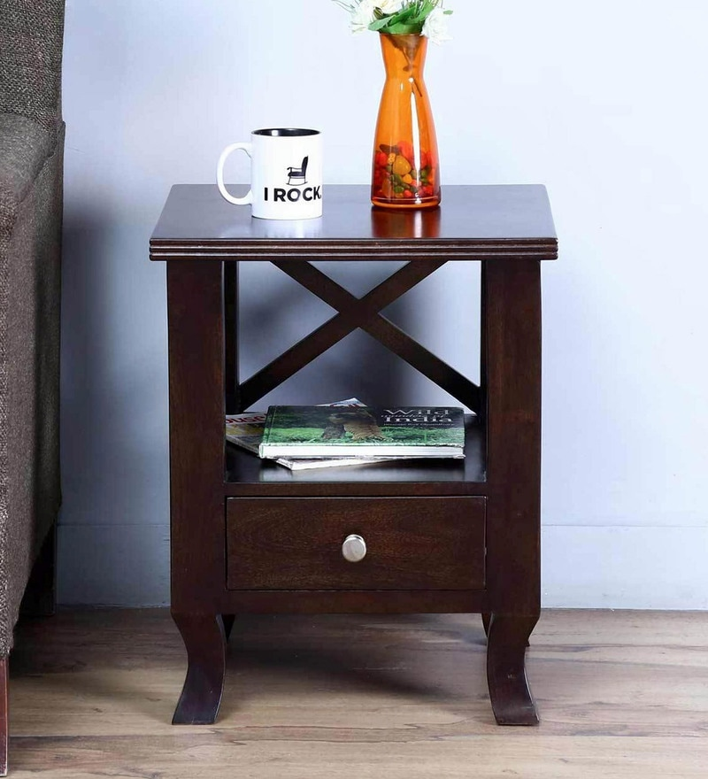 Beaumont Bed Side Table in Warm Chestnut Finish by Amberville