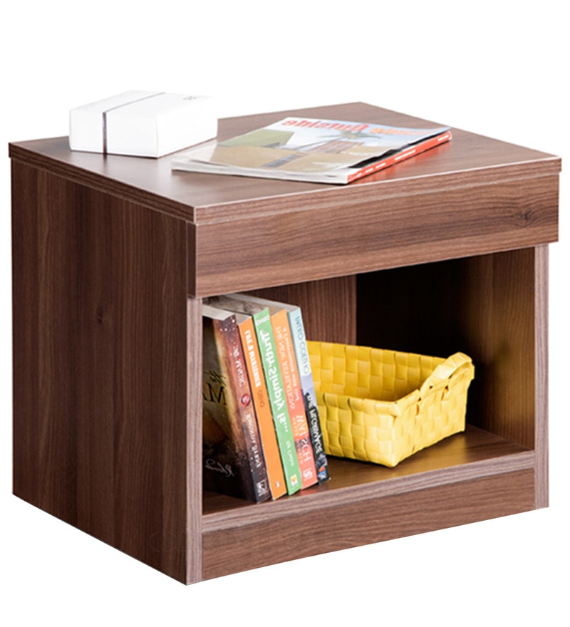 Buy bed side table in acacia dark matt finish by debono for Table queens acacia