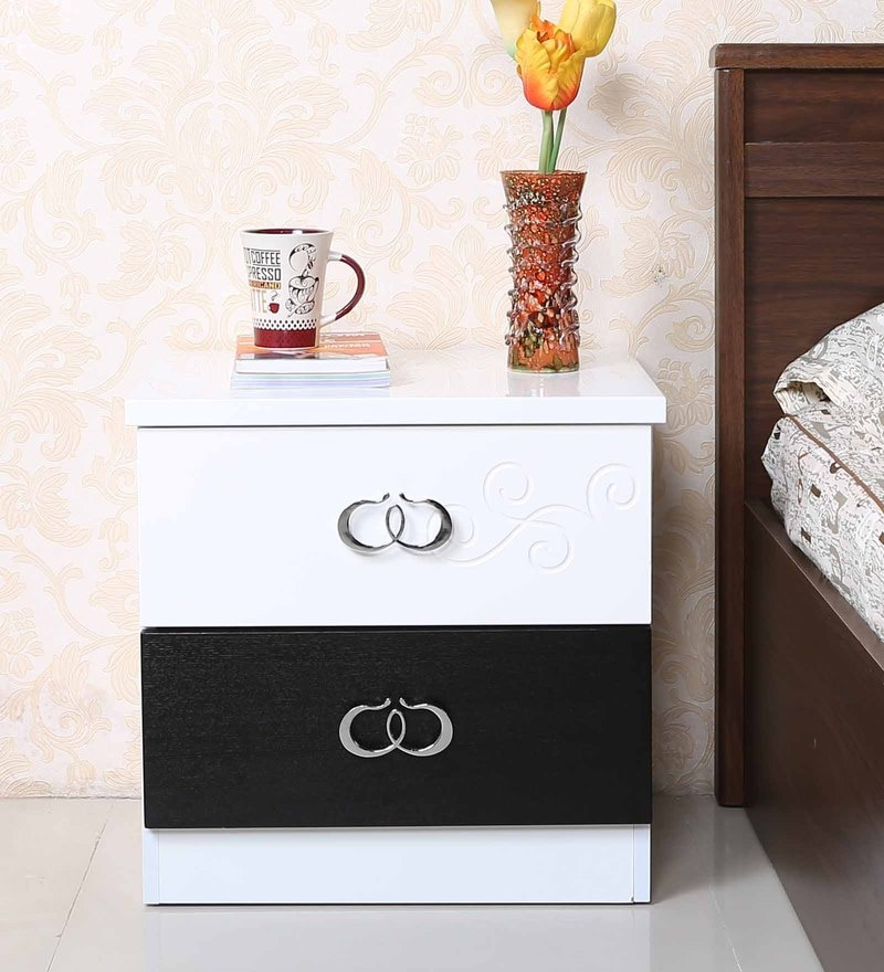 Bedside Table in Black & White Finish by Parin