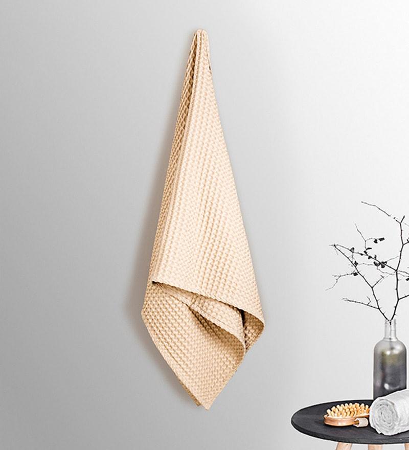 Beige Cotton 30 x 60 Inch Bath Towel by Vista Home Fashion