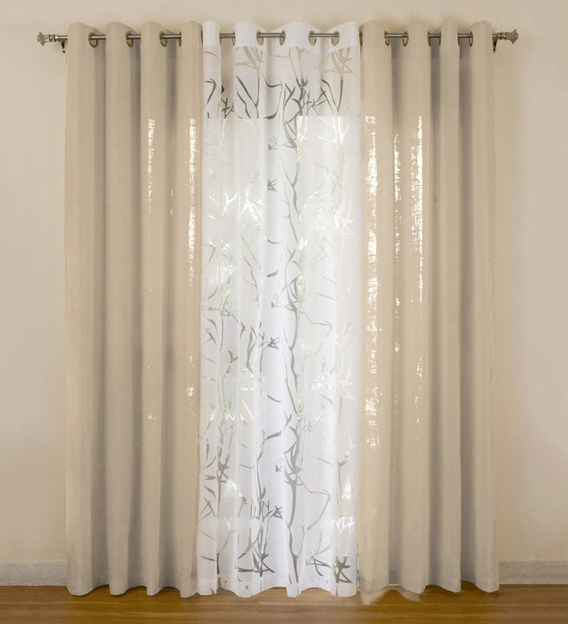 Beige Cotton 55x84 Inch Door Curtains - Set of 3 by Rosara
