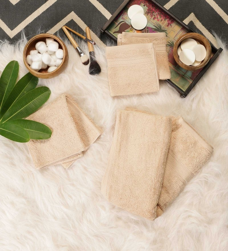 Beige Cotton Bath, Hand & Face Towel Set - Set Of 4 by SWHF