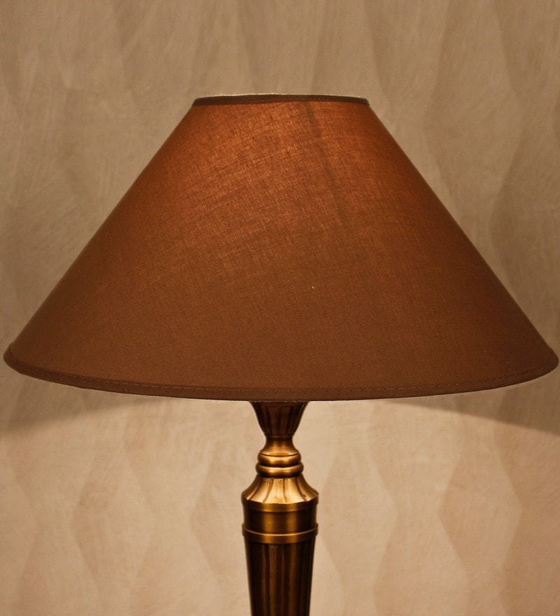 Beige Cotton Conical Lamp Shade by Kapoor E Illuminations