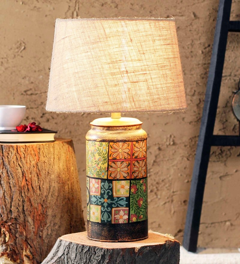 Beige Jute Casey Table Lamp by Fabuliv