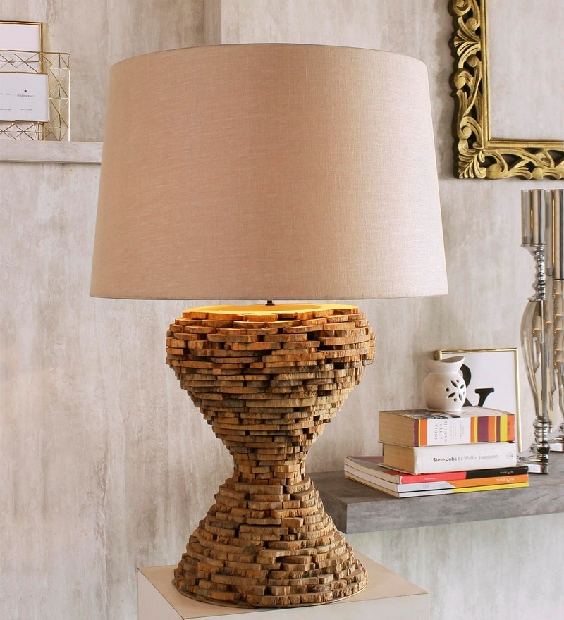 Beige Linen Chamonix Big Table Lamp by Jainsons Emporio